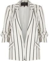River Island Womens White stripe ruched sleeve blazer