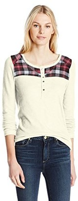 Dylan by True Grit Women's Weston Slub Thermal Henley