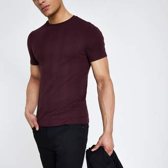 River Island Mens Dark Red ribbed muscle fit T-shirt