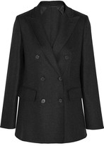 Max Mara Double-breasted Stretch-wool And Cashmere-blend Blazer - Dark gray