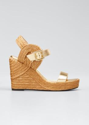 Jimmy Choo Delphi Metallic Leather Espadrille Wedge Sandals