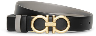 Salvatore Ferragamo Reversable and adjustable grey black leather belt