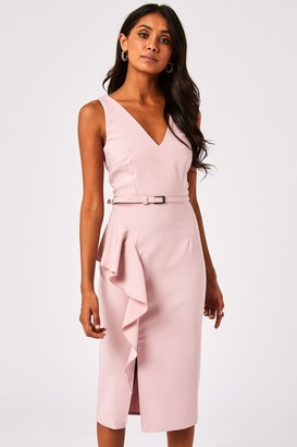 Paper Dolls Noe Blush Frill Belted Pencil Dress