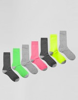 Asos Socks In Neon & Gray 7 Pack