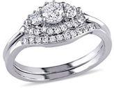 Concerto 14K White Gold 3-Stone Halo 0.59 TCW Diamond Bridal Set