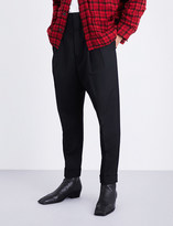 Haider Ackermann Tapered dropped-crotch fleece-wool trousers