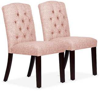 One Kings Lane Set of 2 Lea Tufted Side Chairs - Blush - frame, espresso; upholstery, blush