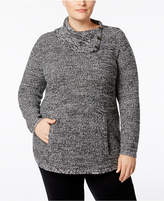 Style&Co. Style & Co Plus Size Envelope-Collar Marled Sweater, Created for Macy's
