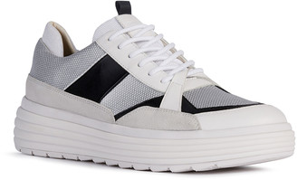 Geox Phaolae Mixed Leather Low-Top Sneakers