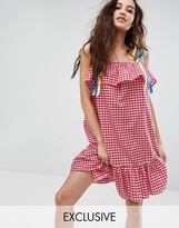 Reclaimed Vintage Inspired Gingham Dress With Ribbon Tie Cold Shoulders