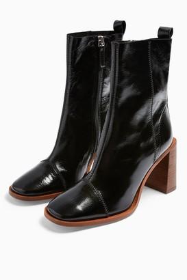 Topshop Womens Homerun Black Leather Boots - Black