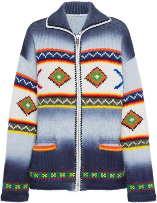 Miu Miu Geometric Pattern Zipped Cardigan