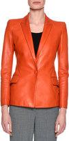 Giorgio Armani Classic Leather One-Button Blazer, Orange