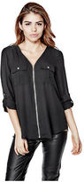 G by Guess GByGUESS Women's Senan Front-Zip Blouse