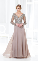 Terani Couture M3811 Beaded V Neck Long Sleeve Chiffon Gown