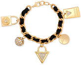 GUESS Gold-Tone Faux Suede and Pavé Charm Bracelet