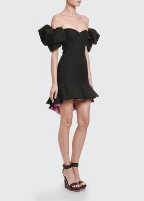 Alexander McQueen Off-the-Shoulder Paneled Mini Dress