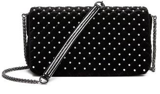 Tosca Velvet Faux Pearl Shoulder Bag