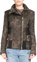 Balmain Quilted Camouflage Zip Jacket