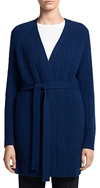 Theory Cable Knit Tie Waist Cashmere Cardigan