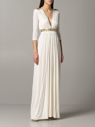 Elisabetta Franchi Long Jersey Dress With Beads