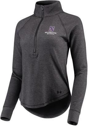 Under Armour Women's Heathered Black Northwestern Wildcats Performance Tri-Blend Fleece 1/2-zip Jacket