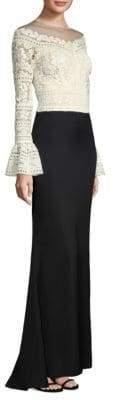 Tadashi Shoji Two Tone Long Sleeve Gown