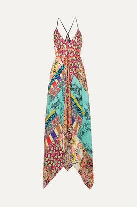 Etro Asymmetric Printed Silk Crepe De Chine Dress - Azure
