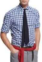 Brunello Cucinelli Micro-Madras Plaid Cotton Shirt, Blue/White