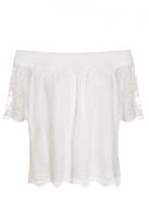 Quiz White Bardot Mesh Lace Gypsy Top