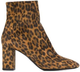 Saint Laurent Lou 75mm leopard print boots