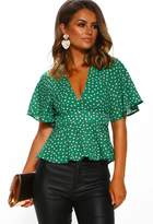 Pink Boutique Sun In The City Green Polka Dot Peplum Blouse