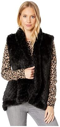 Love Token Ali Faux Fur Vest (Black) Women's Clothing