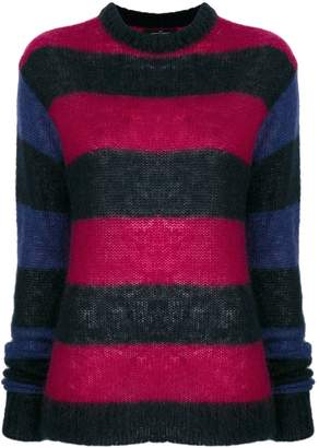 Rokh elongated sleeves striped jumper