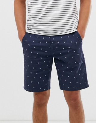 ONLY & SONS chino short in blue with embroidered deck chairs