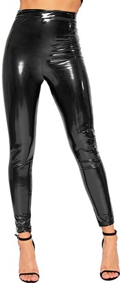 WearAll Women's Wet Look Shiny Vinyl High Waisted Elasticated Jeggings Ladies Leggings - Red - 6