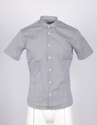 Takeshy Kurosawa White/Blue Short-Sleeved Gray Men's Shirt