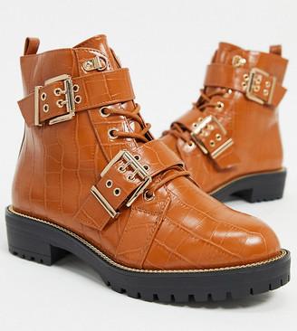 ASOS DESIGN Wide Fit Aubrey lace up hiker boots in tan croc