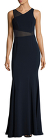 Jay Godfrey Rogers Mesh Contrast V-Neck Gown