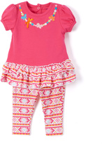 Buster Brown Pink Floral Tunic & Black Pants - Infant