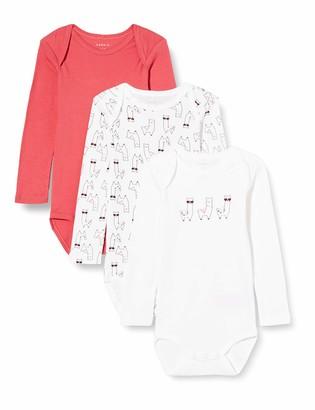 Name It Baby_Girl's NBFBODY 3P LS Claret RED Alpaca NOOS Bodysuit 80 cm