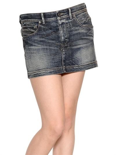 Diesel Black Gold Stretch Cotton Denim Mini Skirt