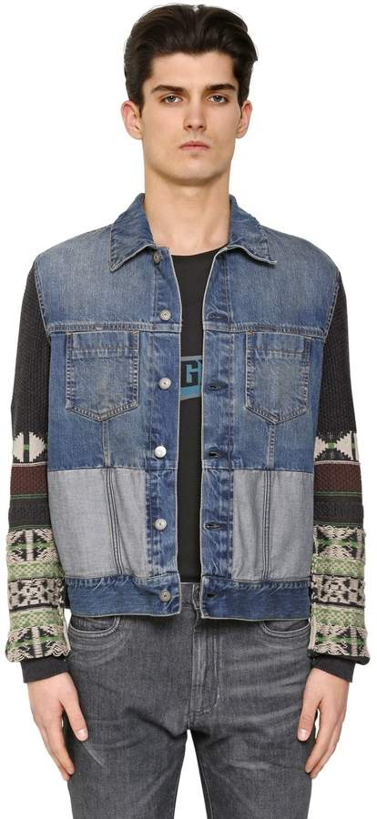 Maison Margiela Wool Jacquard & Cotton Denim Jacket