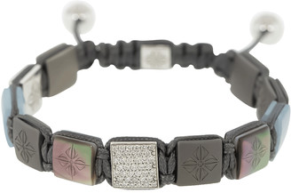 Shamballa Aquamarine and Black Pearl Titanium Lock Bracelet