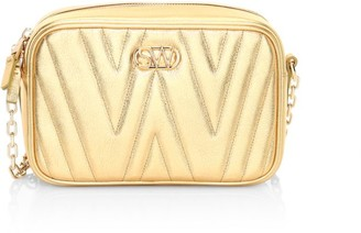 Stuart Weitzman Reana Quilted Metallic Leather Camera Bag