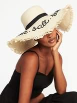 "Old Navy Floppy ""Sea Salt Sun"" Straw Sun Hat for Women"