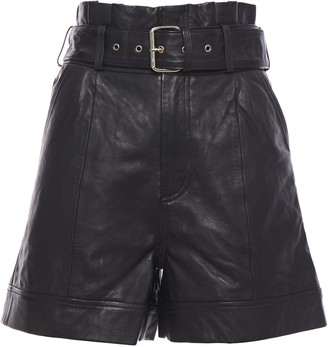 Walter Baker Belted Leather Shorts