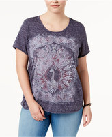 Style&Co. Style & Co Plus Size Peacock Graphic Top, Created for Macy's