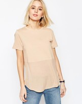 Asos Contrast Ribbed Panel T-Shirt