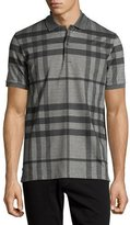 Burberry Modern Check Stretch-Cotton Polo Shirt, Mid Gray